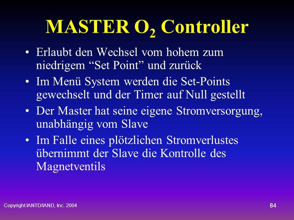 Copyright IANTD/IAND, Inc. 2004 83 Handsets (O 2 Controller) Die O 2 Controller bekommen ihre Daten von den drei Sauerstoffsensoren Der Master mittelt