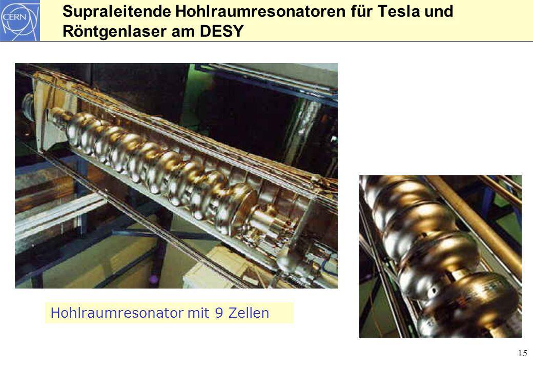 15 Supraleitende Hohlraumresonatoren für Tesla und Röntgenlaser am DESY Hohlraumresonator mit 9 Zellen
