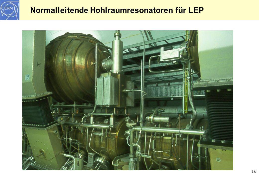 16 Normalleitende Hohlraumresonatoren für LEP