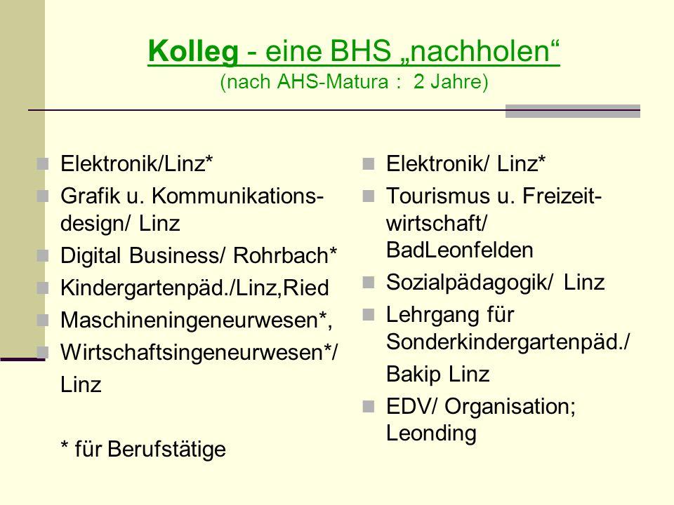 Kolleg - eine BHS nachholen (nach AHS-Matura : 2 Jahre) Elektronik/Linz* Grafik u.
