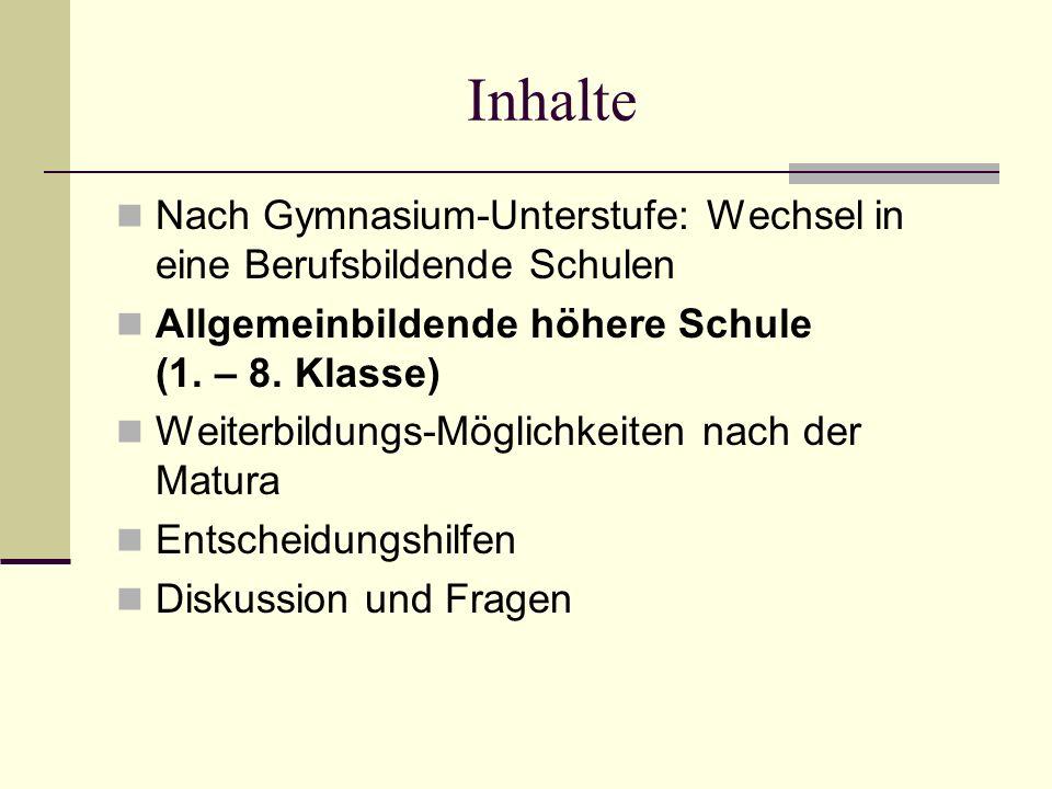 Inhalte Nach Gymnasium-Unterstufe: Wechsel in eine Berufsbildende Schulen Allgemeinbildende höhere Schule (1.