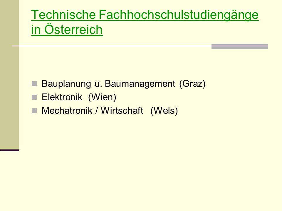Technische Fachhochschulstudiengänge in Österreich Bauplanung u.