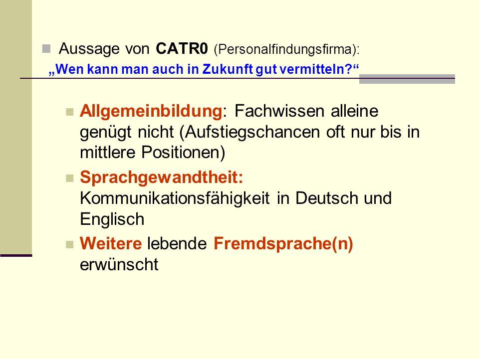 Aussage von CATR0 (Personalfindungsfirma): Wen kann man auch in Zukunft gut vermitteln.