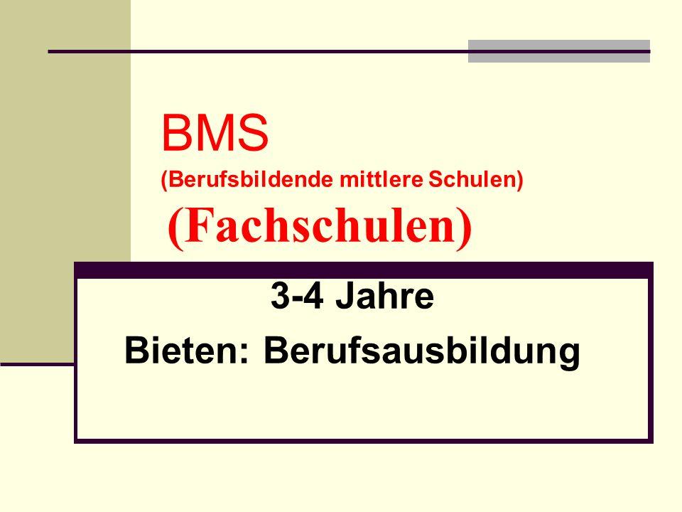 BMS (Berufsbildende mittlere Schulen) (Fachschulen) 3-4 Jahre Bieten: Berufsausbildung