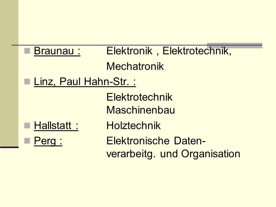 Braunau : Elektronik, Elektrotechnik, Mechatronik Linz, Paul Hahn-Str.