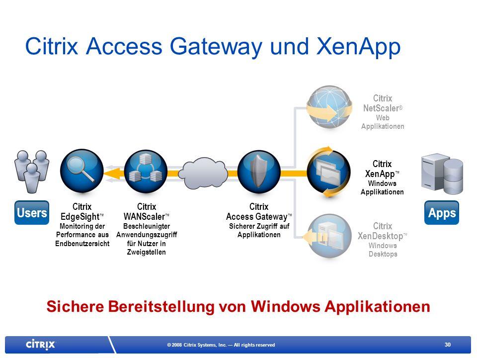 30 © 2008 Citrix Systems, Inc. All rights reserved Citrix Access Gateway und XenApp Citrix NetScaler ® Web Applikationen Citrix XenApp Windows Applika