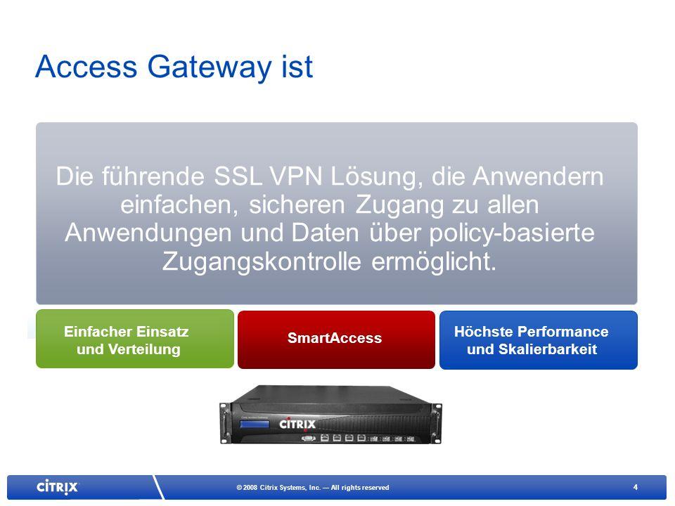4 © 2008 Citrix Systems, Inc. All rights reserved Access Gateway ist Die führende SSL VPN Lösung, die Anwendern einfachen, sicheren Zugang zu allen An
