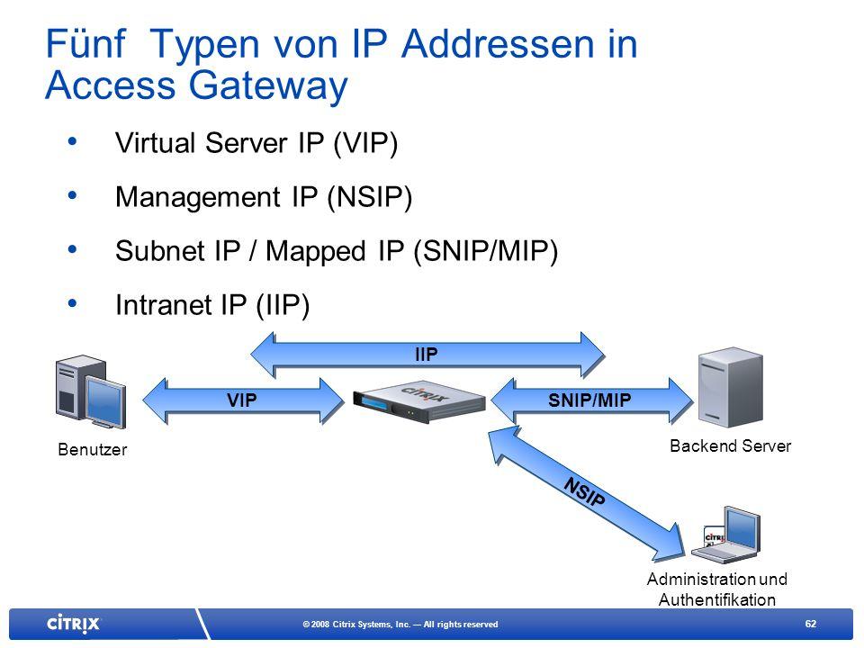 62 © 2008 Citrix Systems, Inc. All rights reserved Fünf Typen von IP Addressen in Access Gateway Virtual Server IP (VIP) Management IP (NSIP) Subnet I