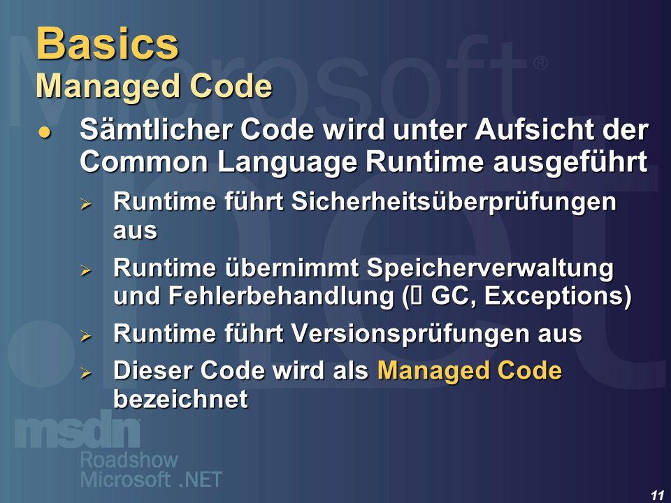 11 Sämtlicher Code wird unter Aufsicht der Common Language Runtime ausgeführt Sämtlicher Code wird unter Aufsicht der Common Language Runtime ausgefüh