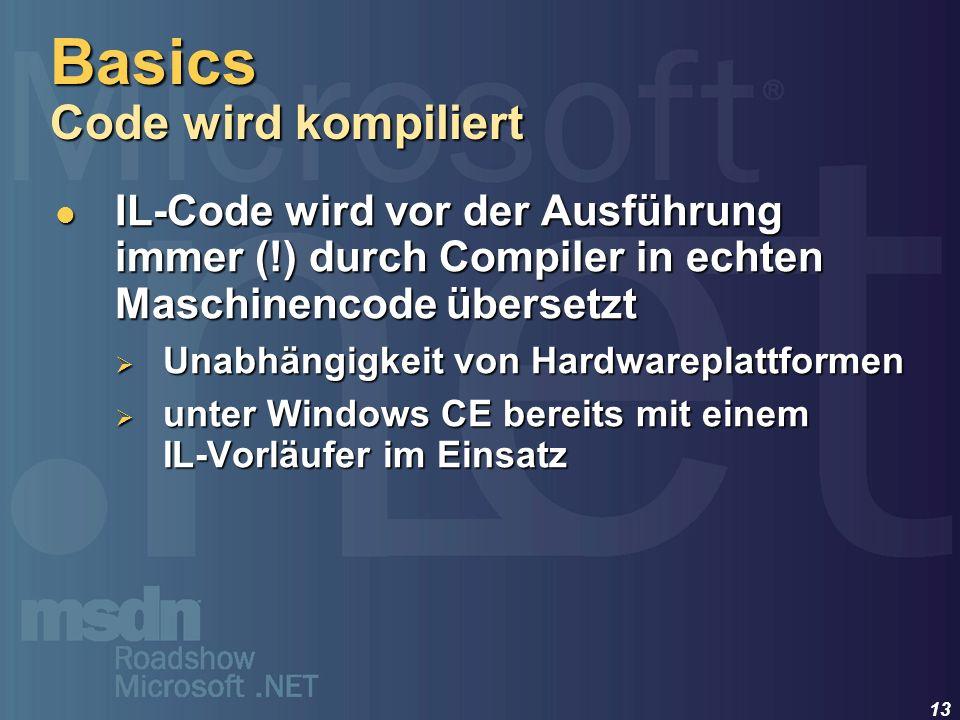13 IL-Code wird vor der Ausführung immer (!) durch Compiler in echten Maschinencode übersetzt IL-Code wird vor der Ausführung immer (!) durch Compiler