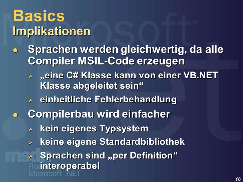 16 Sprachen werden gleichwertig, da alle Compiler MSIL-Code erzeugen Sprachen werden gleichwertig, da alle Compiler MSIL-Code erzeugen eine C# Klasse