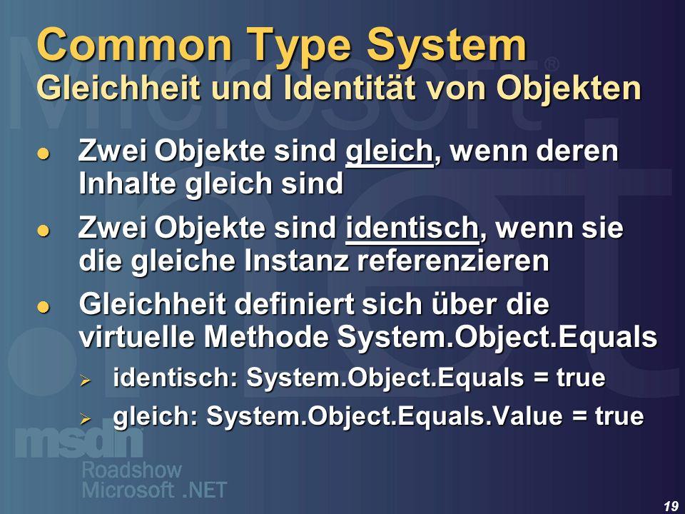 19 Zwei Objekte sind gleich, wenn deren Inhalte gleich sind Zwei Objekte sind gleich, wenn deren Inhalte gleich sind Zwei Objekte sind identisch, wenn