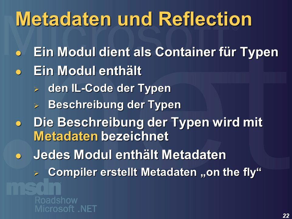 22 Ein Modul dient als Container für Typen Ein Modul dient als Container für Typen Ein Modul enthält Ein Modul enthält den IL-Code der Typen den IL-Co