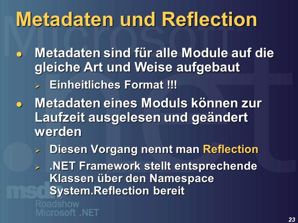 23 Metadaten sind für alle Module auf die gleiche Art und Weise aufgebaut Metadaten sind für alle Module auf die gleiche Art und Weise aufgebaut Einhe