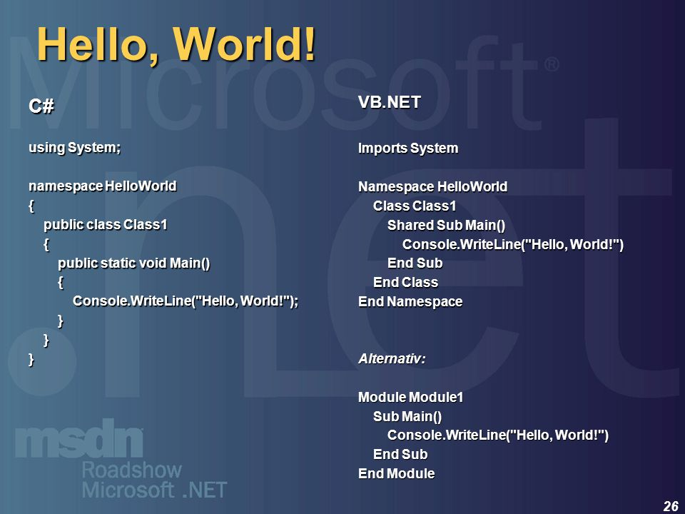 26 Hello, World! C# using System; namespace HelloWorld { public class Class1 public class Class1 { public static void Main() public static void Main()