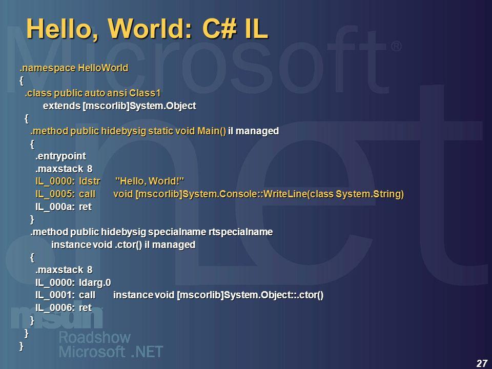 27 Hello, World: C# IL.namespace HelloWorld {.class public auto ansi Class1.class public auto ansi Class1 extends [mscorlib]System.Object extends [msc