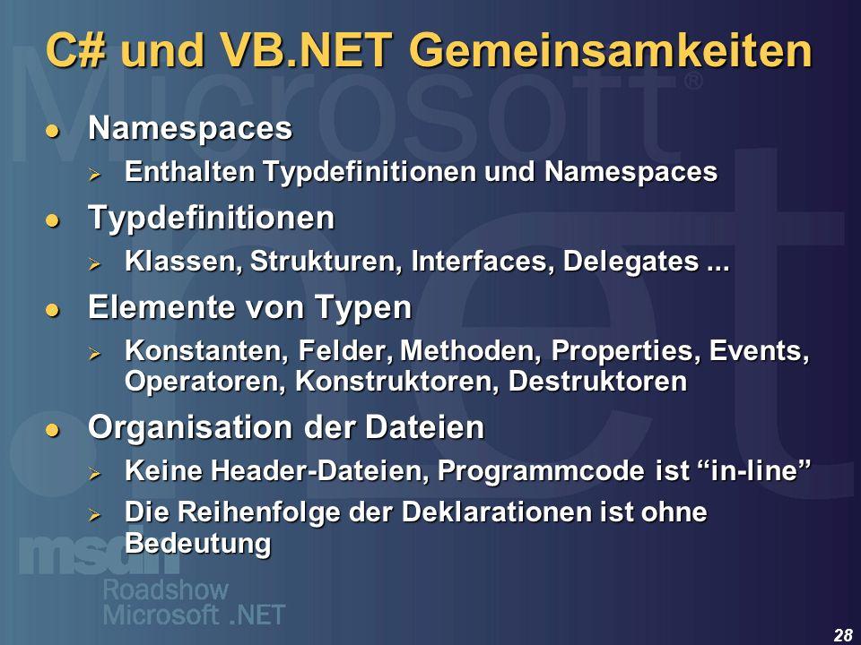 28 C# und VB.NET Gemeinsamkeiten Namespaces Namespaces Enthalten Typdefinitionen und Namespaces Enthalten Typdefinitionen und Namespaces Typdefinition