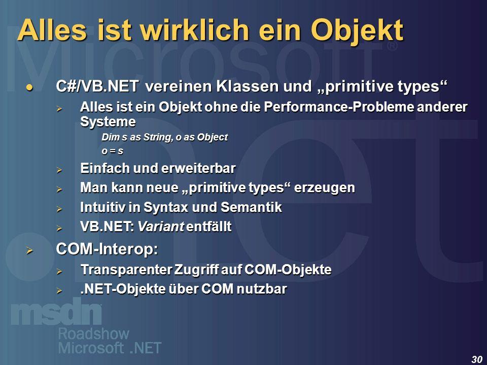30 Alles ist wirklich ein Objekt C#/VB.NET vereinen Klassen und primitive types C#/VB.NET vereinen Klassen und primitive types Alles ist ein Objekt oh
