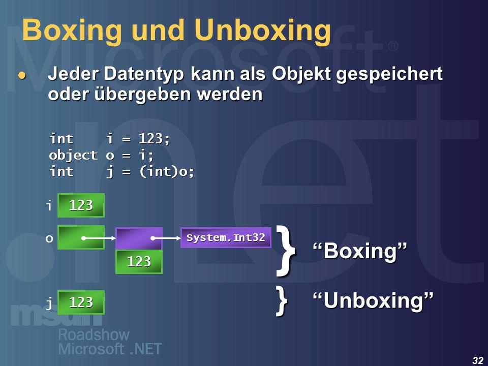32 Boxing und Unboxing Jeder Datentyp kann als Objekt gespeichert oder übergeben werden Jeder Datentyp kann als Objekt gespeichert oder übergeben werd