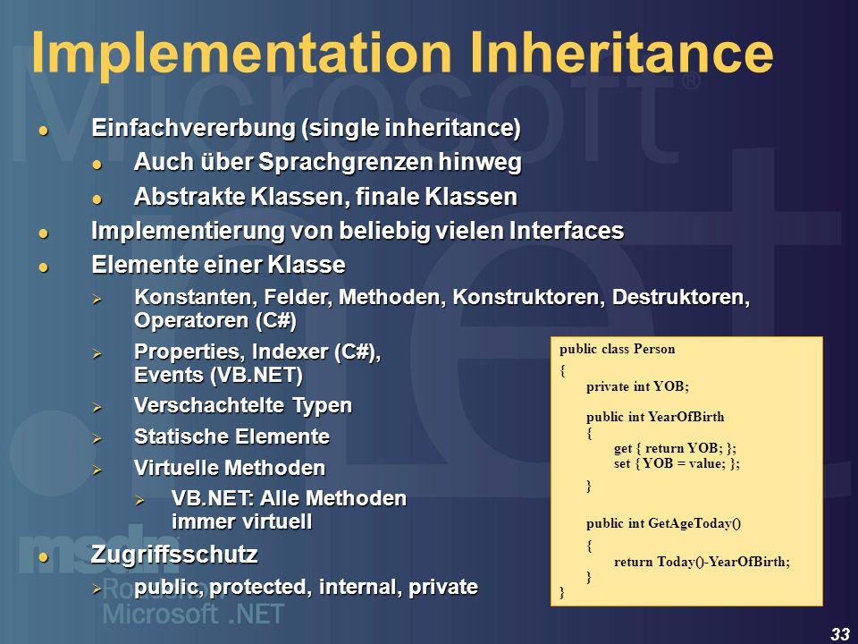 33 Implementation Inheritance Einfachvererbung (single inheritance) Einfachvererbung (single inheritance) Auch über Sprachgrenzen hinweg Auch über Spr