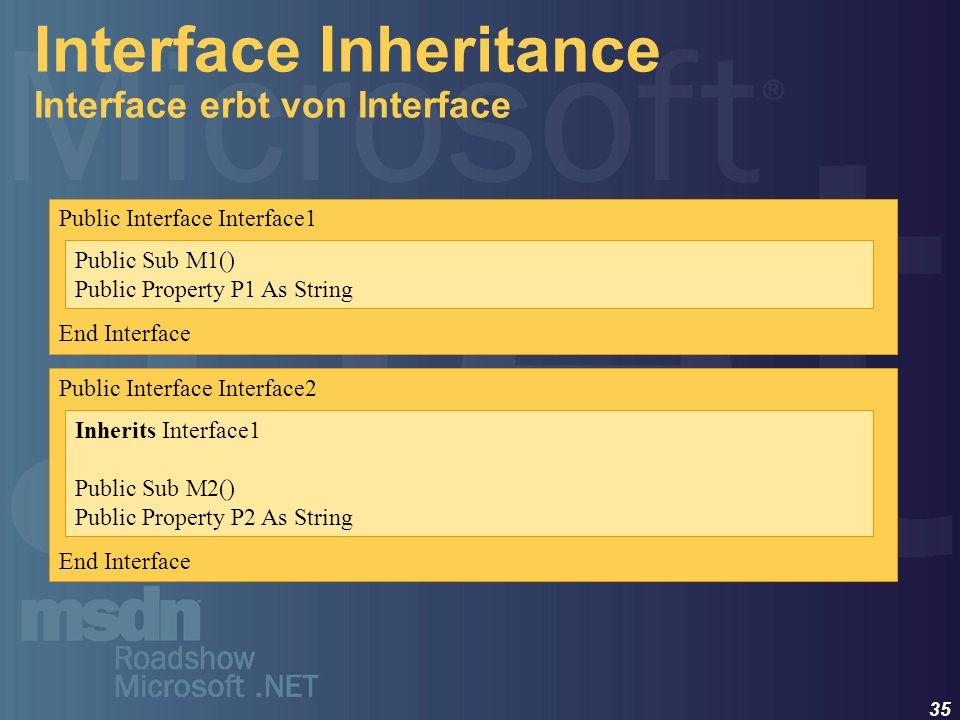 35 Interface Inheritance Interface erbt von Interface Public Interface Interface1 End Interface Public Sub M1() Public Property P1 As String Public In