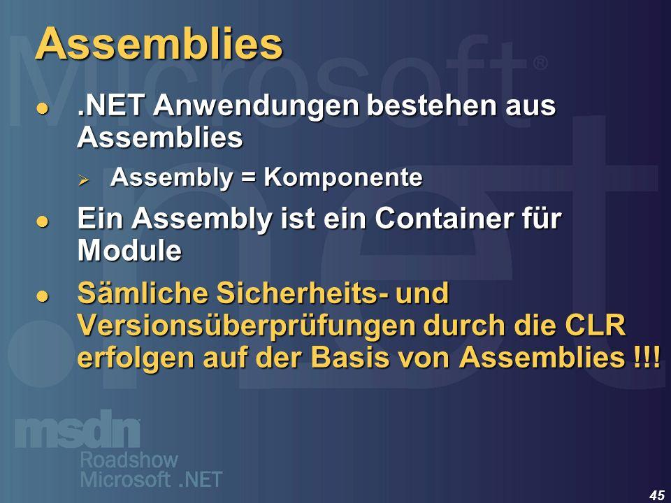 45 Assemblies.NET Anwendungen bestehen aus Assemblies.NET Anwendungen bestehen aus Assemblies Assembly = Komponente Assembly = Komponente Ein Assembly