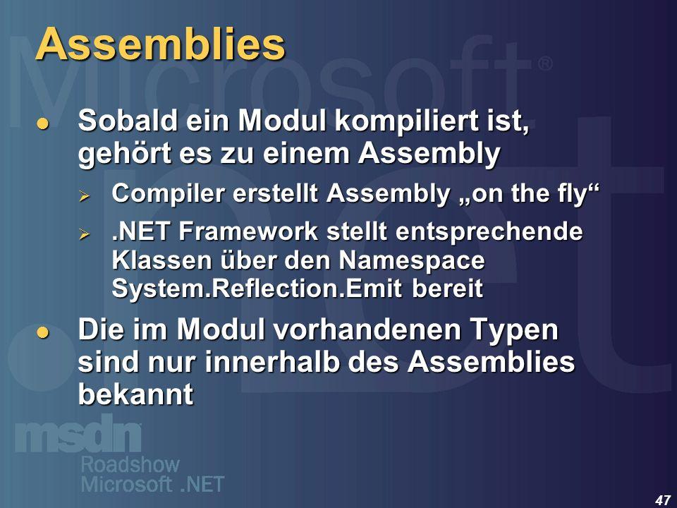 47 Assemblies Sobald ein Modul kompiliert ist, gehört es zu einem Assembly Sobald ein Modul kompiliert ist, gehört es zu einem Assembly Compiler erste