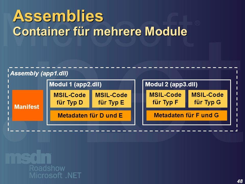 48 Metadaten für D und E Modul 1 (app2.dll) Manifest Assembly (app1.dll) MSIL-Code für Typ D MSIL-Code für Typ E Metadaten für F und G Modul 2 (app3.d