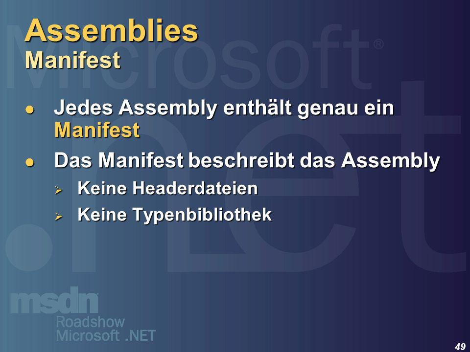 49 Jedes Assembly enthält genau ein Manifest Jedes Assembly enthält genau ein Manifest Das Manifest beschreibt das Assembly Das Manifest beschreibt da