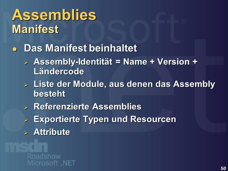 50 Das Manifest beinhaltet Das Manifest beinhaltet Assembly-Identität = Name + Version + Ländercode Assembly-Identität = Name + Version + Ländercode L