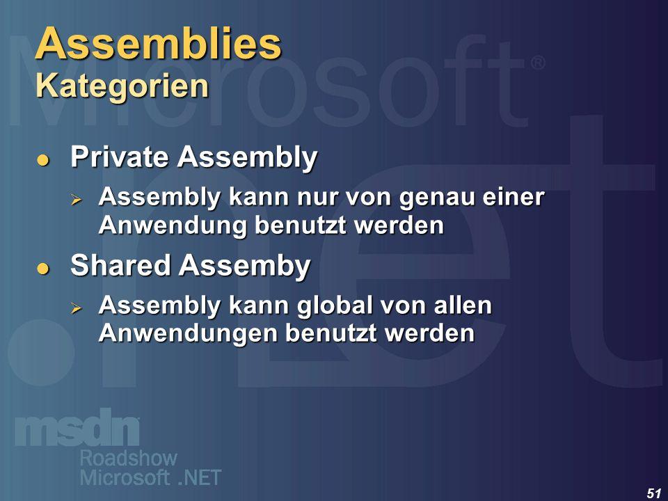 51 Private Assembly Private Assembly Assembly kann nur von genau einer Anwendung benutzt werden Assembly kann nur von genau einer Anwendung benutzt we