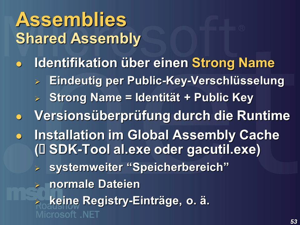 53 Identifikation über einen Strong Name Identifikation über einen Strong Name Eindeutig per Public-Key-Verschlüsselung Eindeutig per Public-Key-Versc