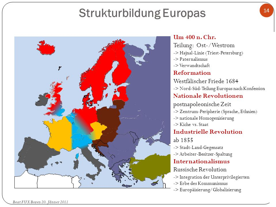 Strukturbildung Europas 14 Um 400 n. Chr. Teilung: Ost-/Westrom -> Hajnal-Linie (Triest-Petersburg) -> Paternalismus -> Verwandtschaft Reformation Wes