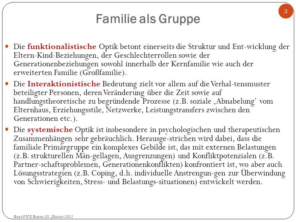 Familie als Gruppe Die funktionalistische Optik betont einerseits die Struktur und Ent-wicklung der Eltern-Kind-Beziehungen, der Geschlechterrollen so