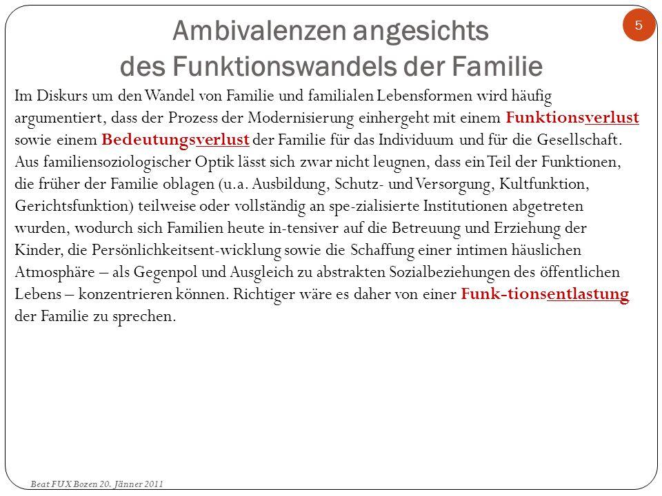 Ambivalenzen angesichts des Funktionswandels der Familie (2) Beat FUX Bozen 20.
