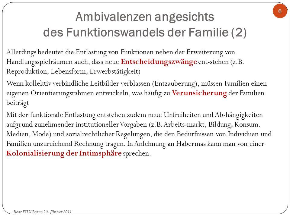 Ambivalenzen angesichts des Funktionswandels der Familie (2) Beat FUX Bozen 20. Jänner 2011 6 Allerdings bedeutet die Entlastung von Funktionen neben