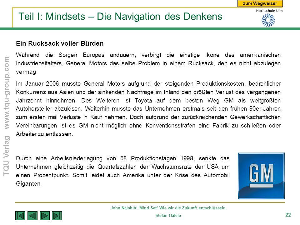 zum Wegweiser TQU Verlag www.tqu-group.com John Naisbitt: Mind Set! Wie wir die Zukunft entschlüsseln Stefan Häfele 22 Teil I: Mindsets – Die Navigati