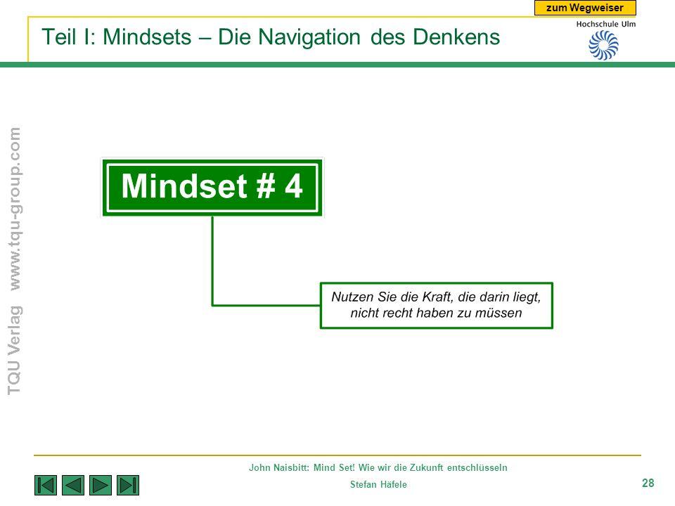 zum Wegweiser TQU Verlag www.tqu-group.com John Naisbitt: Mind Set! Wie wir die Zukunft entschlüsseln Stefan Häfele 28 Teil I: Mindsets – Die Navigati