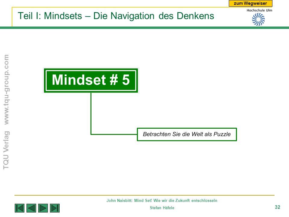 zum Wegweiser TQU Verlag www.tqu-group.com John Naisbitt: Mind Set! Wie wir die Zukunft entschlüsseln Stefan Häfele 32 Teil I: Mindsets – Die Navigati