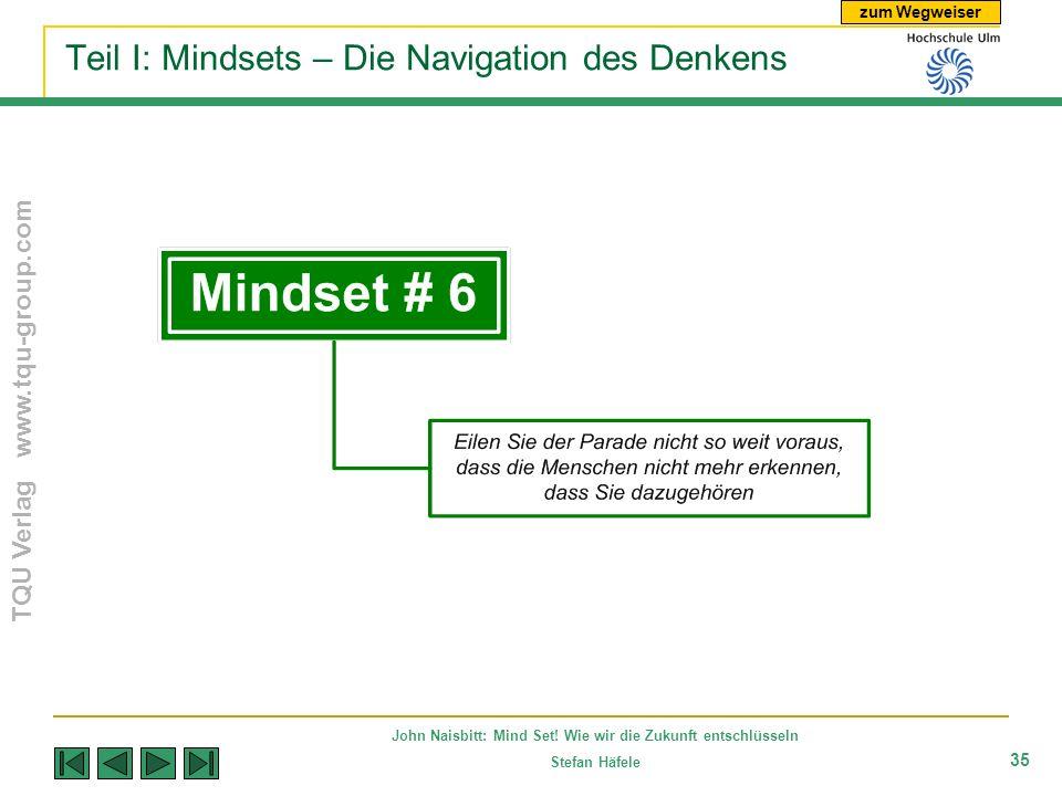 zum Wegweiser TQU Verlag www.tqu-group.com John Naisbitt: Mind Set! Wie wir die Zukunft entschlüsseln Stefan Häfele 35 Teil I: Mindsets – Die Navigati