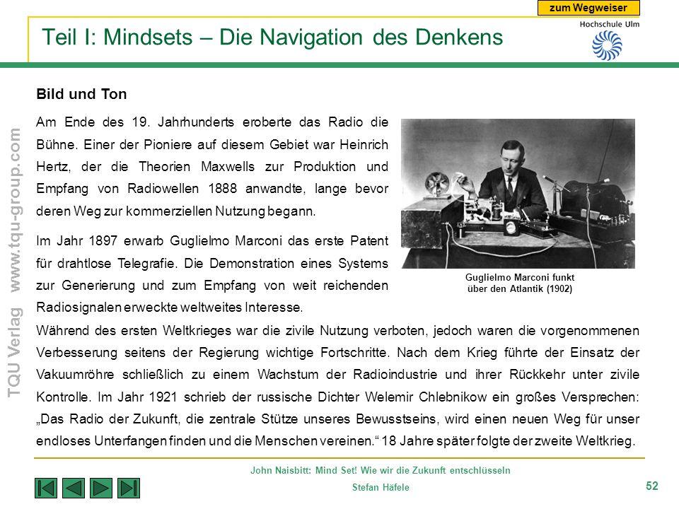 zum Wegweiser TQU Verlag www.tqu-group.com John Naisbitt: Mind Set! Wie wir die Zukunft entschlüsseln Stefan Häfele 52 Teil I: Mindsets – Die Navigati