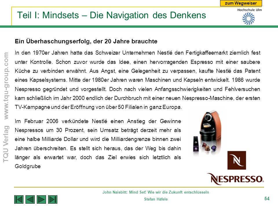 zum Wegweiser TQU Verlag www.tqu-group.com John Naisbitt: Mind Set! Wie wir die Zukunft entschlüsseln Stefan Häfele 54 Teil I: Mindsets – Die Navigati