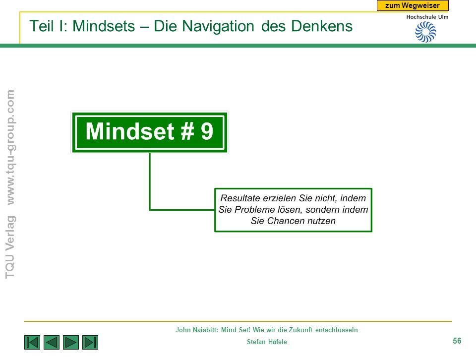 zum Wegweiser TQU Verlag www.tqu-group.com John Naisbitt: Mind Set! Wie wir die Zukunft entschlüsseln Stefan Häfele 56 Teil I: Mindsets – Die Navigati