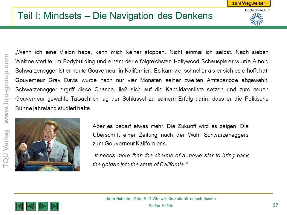zum Wegweiser TQU Verlag www.tqu-group.com John Naisbitt: Mind Set! Wie wir die Zukunft entschlüsseln Stefan Häfele 57 Teil I: Mindsets – Die Navigati