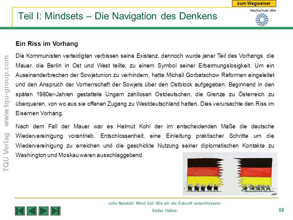 zum Wegweiser TQU Verlag www.tqu-group.com John Naisbitt: Mind Set! Wie wir die Zukunft entschlüsseln Stefan Häfele 58 Teil I: Mindsets – Die Navigati