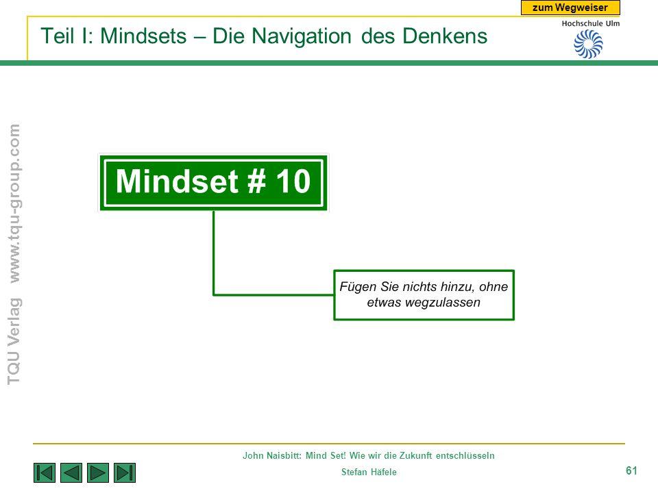 zum Wegweiser TQU Verlag www.tqu-group.com John Naisbitt: Mind Set! Wie wir die Zukunft entschlüsseln Stefan Häfele 61 Teil I: Mindsets – Die Navigati