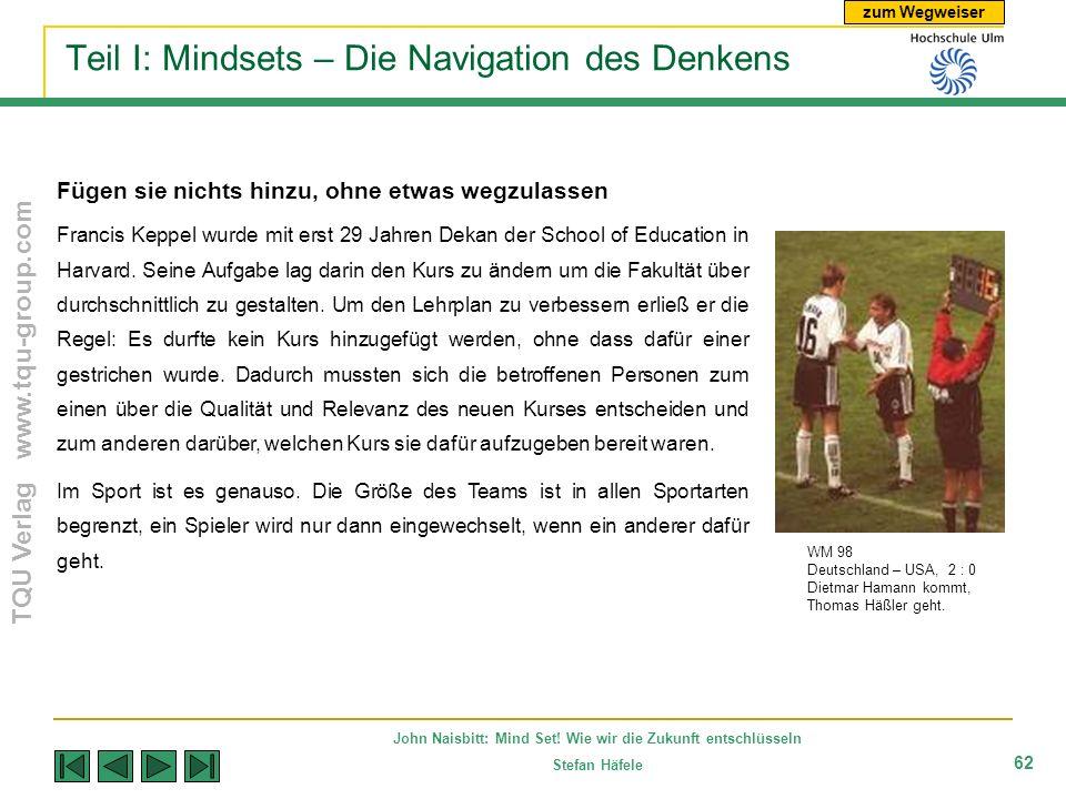 zum Wegweiser TQU Verlag www.tqu-group.com John Naisbitt: Mind Set! Wie wir die Zukunft entschlüsseln Stefan Häfele 62 Teil I: Mindsets – Die Navigati