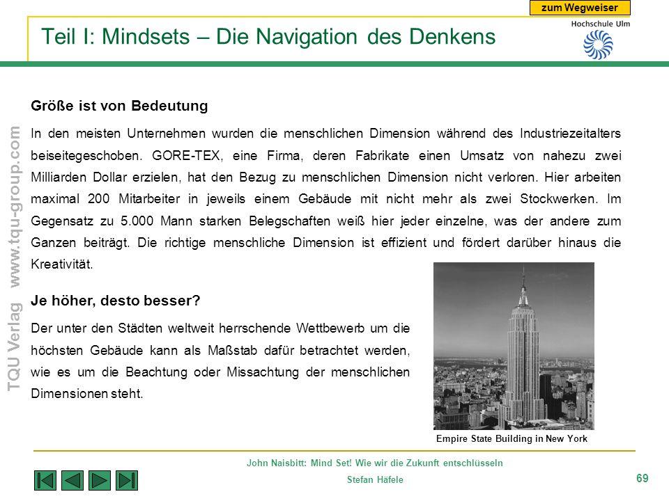 zum Wegweiser TQU Verlag www.tqu-group.com John Naisbitt: Mind Set! Wie wir die Zukunft entschlüsseln Stefan Häfele 69 Teil I: Mindsets – Die Navigati