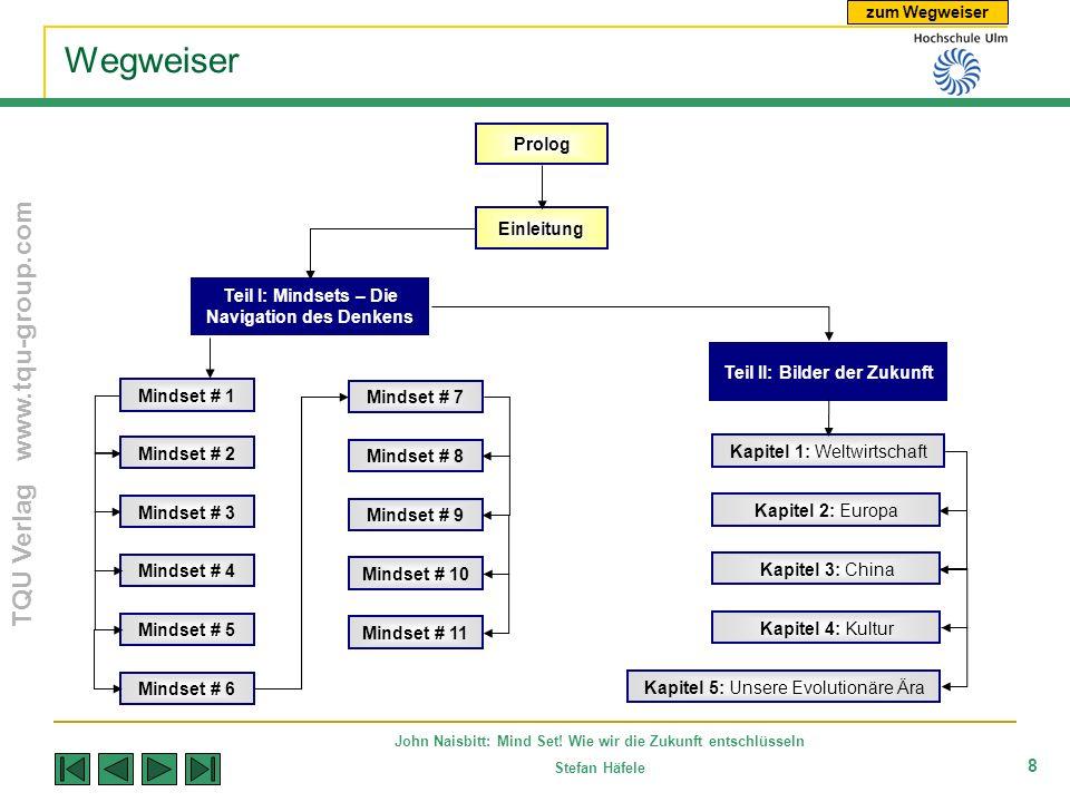 zum Wegweiser TQU Verlag www.tqu-group.com John Naisbitt: Mind Set! Wie wir die Zukunft entschlüsseln Stefan Häfele 8 Wegweiser Prolog Mindset # 1 Tei
