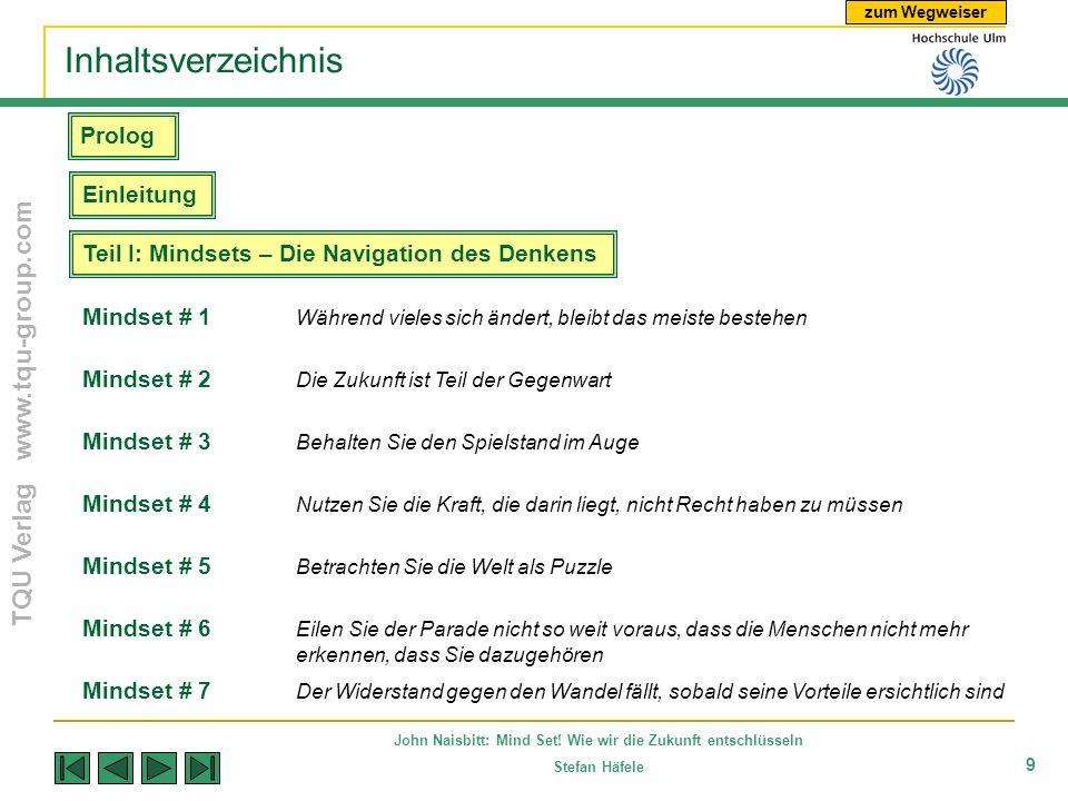 zum Wegweiser TQU Verlag www.tqu-group.com John Naisbitt: Mind Set! Wie wir die Zukunft entschlüsseln Stefan Häfele 9 Inhaltsverzeichnis Mindset # 7 D
